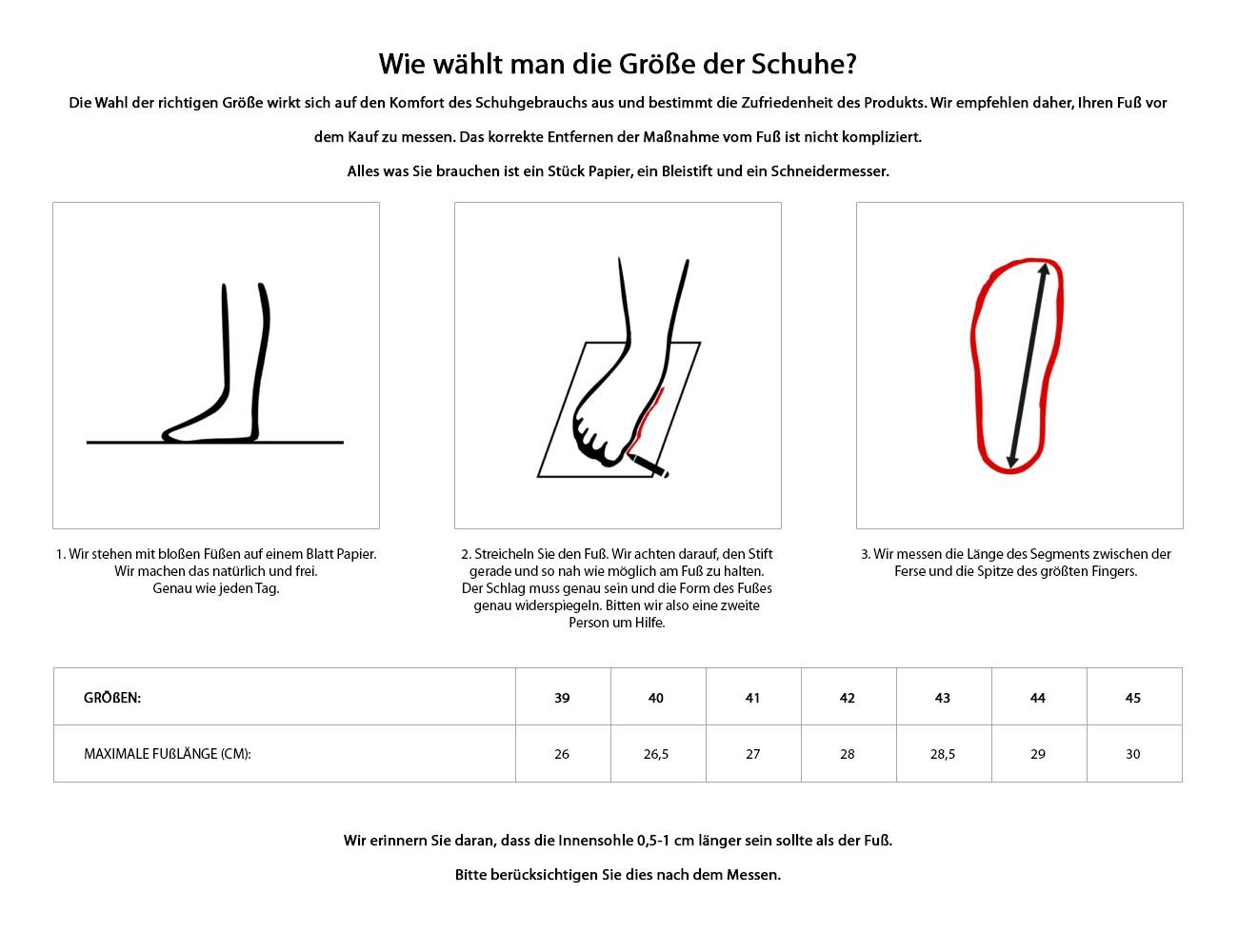 Jak mierzyć - buty (żmija)